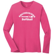 Softball - Ultimate Pullover Hooded Sweatshirt - Ladies Long Sleeve 5.4 oz 100% Cotton T Shirt - LPC54LS