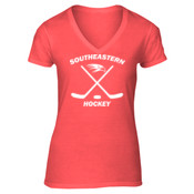 Southeastern Hockey - Ladies 5.4 oz 100% Cotton V Neck T Shirt - LPC54V