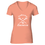Southeastern Lacrosse - Ladies 5.4 oz 100% Cotton V Neck T Shirt - LPC54V